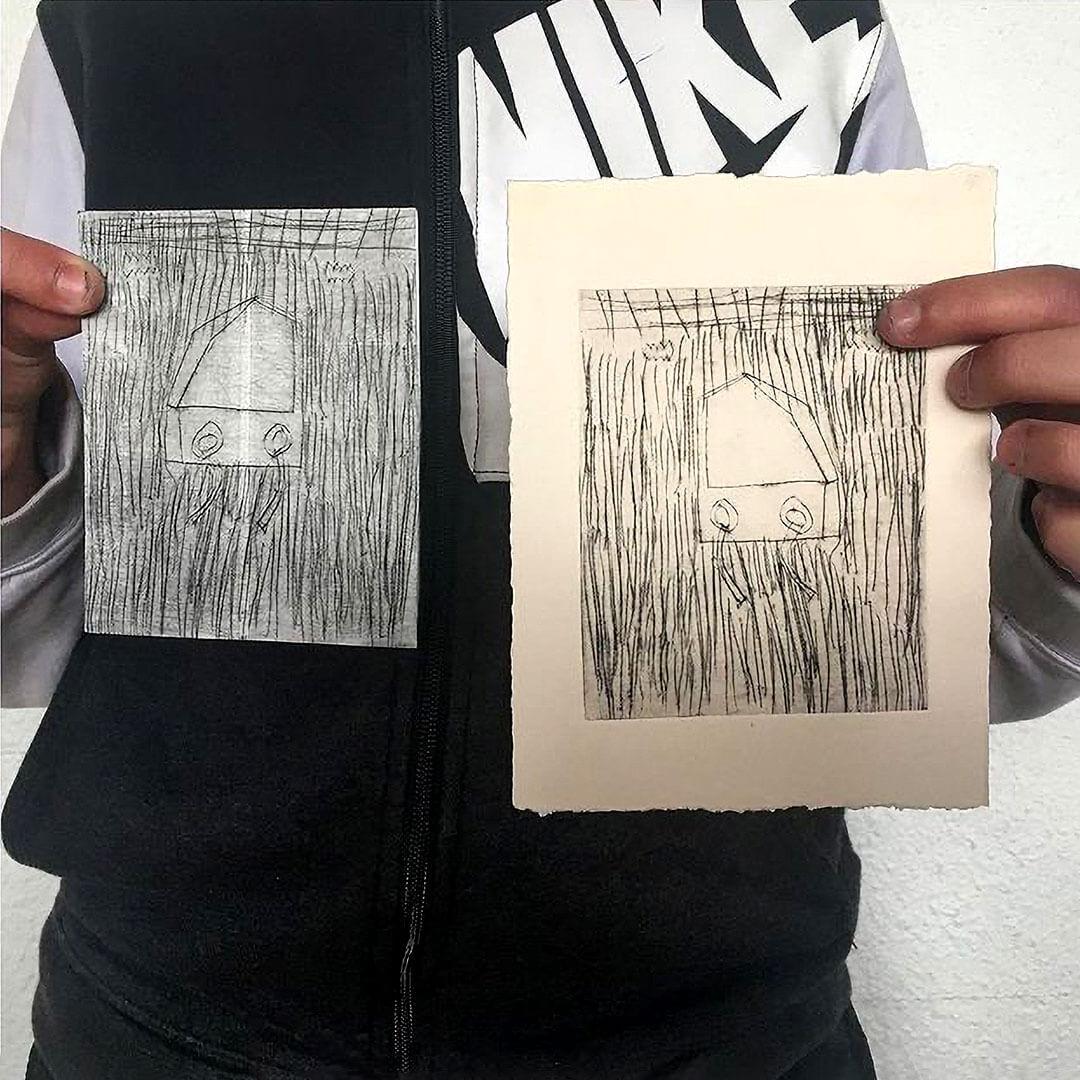 atelier gravure avec illustratrice Csil