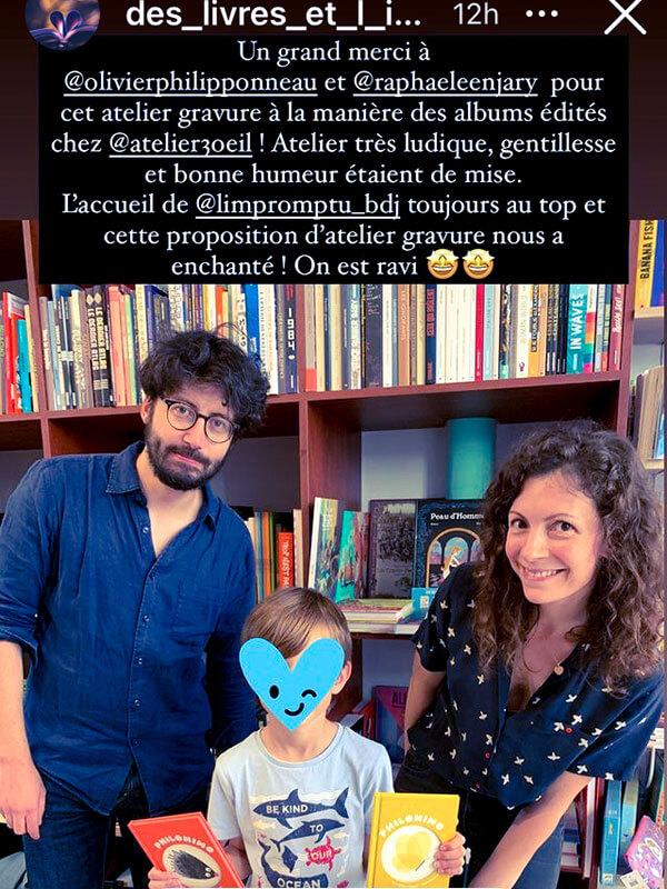 rencontre et dédicaces - Raphaele Enjary et Olivier Philipponneau - librairie L'Impromptu